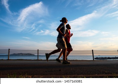 Turkey - July 15 ,2019 :  Running on the beach, people and wellness. Bostanci, istanbul