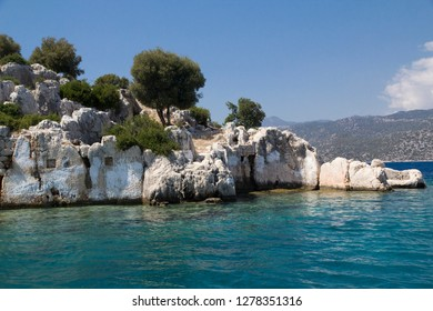 Turkey, Kas, Kekova, also Caravola, Dolichiste, is a small Turkish island near Demre district of Antalya province. Kekova is uninhabited. It is visited aboard a Turkish motorized boat.