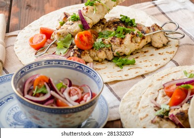 Turkey kebab with parsley salsa, kebab grilled, delicious salsa
