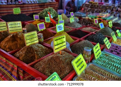 Turkey, Kemer, 07,08,2017 Spices on the street market