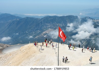 Turkey. Kemer. May 14, 2014. View from the observation deck of mount Tahtali on the mountain range of the southern coast of Turkey.