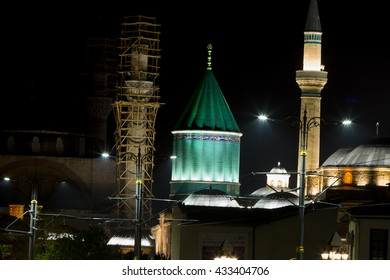"""TURKEY - KONYA, 25 APRIL 2016; The Mevlana Museum, in Konya, Turkey, in the """"blue"""" hour, with its famous green-turquoise dome"""