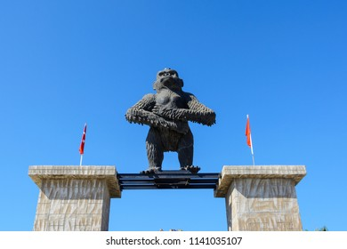 TURKEY, MANAVGAT-June 29, 2018: a huge gorilla figure at the gate at the entrance to discovery Park