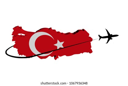 Turkey map flag with plane silhouette and swoosh 3d illustration