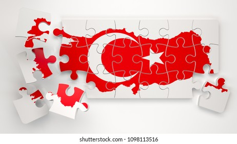 Turkey Map with Flag as Puzzle - 3D Rendering