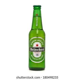 TURKEY - MARCH 6, 2014 Bottle of Heineken Lager Beer on white background.