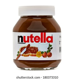 TURKEY - MARCH 6, 2014 Editorial photo of Nutella hazelnut spread jar on white background including clipping path. Nutella has manufacturing facilities in Turkey now. TURKEY - March 6, 2014