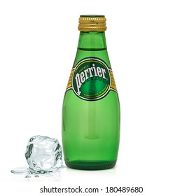 TURKEY - MARCH 6, 2014 Perrier Natural Mineral Water on white background.