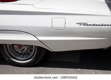 İstanbul, Turkey - May 04, 2019:EXTERIOR DETAIL OF A WHITE FORD THUNDERBIRD- An interior shot of a 1962 Ford Thunderbird antique car