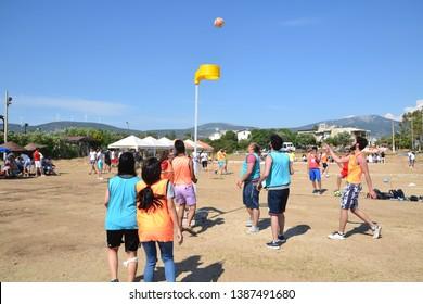 DİDİM, TURKEY - MAY 09, 2018: Friends playing korfball at the beach