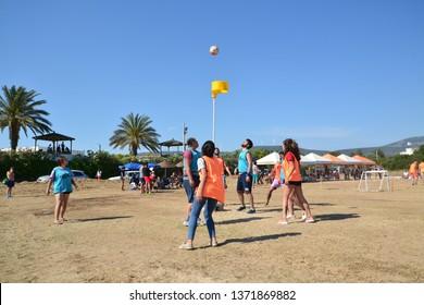 DİDİM, TURKEY - MAY 09, 2018:Friends playing korfball at the beach