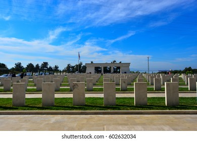 Çanakkale, Turkey -  May 2015. The Canakkale Martyrs Memorial is a war memorial commemorating the service of about Turkish soldiers who participated at the Battle of Gallipoli,