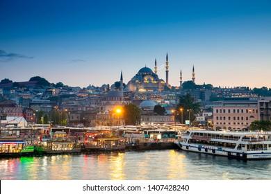 ์Istanbul, Turkey - May 25,2019 : Colorful night viwe in Istanbul, Turkey