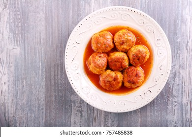 Turkey meatballs with sauce in a plate