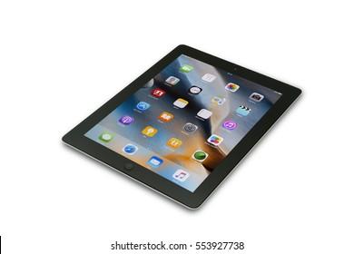 TURKEY, Mersin JANUARY 01, 2017: Black Apple Tablet iPad isolated on white background