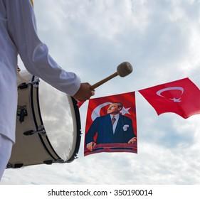 TURKEY NATIONAL DAY PARADE MERSIN, TURKEY - OCTOBER 29: Turkey the national day parade. Military Band, the Turkish flag and the Turkish leader Mustafa Kemal Ataturk. Mersin, October 29, 2015.