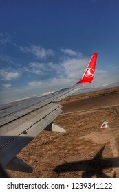 Igdır Turkey; November 17, 2018: Turkish Airlines Aircraft Wing in the sky