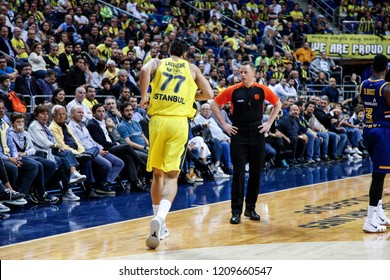 İstanbul / Turkey, October 17, 2018: Joffrey Lauvergne and referee Arturas Sukys during EuroLeague 2018-19 week 2 basketball game Fenerbahce Istanbul vs Khimki Moscow, Ulker Sports and Event Hall.