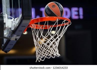 İstanbul / Turkey, October 25, 2018: EuroLeague ball and basketball rim during 2018-19 week 8 basketball game Anadolu Efes vs Maccabi FOX Tel Aviv Istanbul, Sinan Erdem Dome.