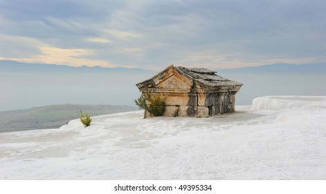 Turkey. Pamukkale. The ancient city of Hierapolis. Roman burial-vault included in white gypsum