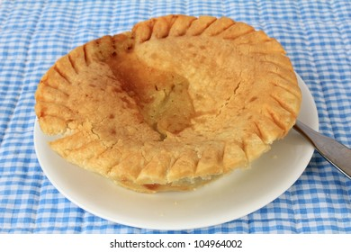 Turkey Pot Pie baked to a golden brown on white saucer with blue gingham place mat as background.
