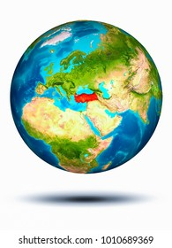 Turkey in red on model of planet Earth hovering in space. 3D illustration isolated on white background. Elements of this image furnished by NASA.
