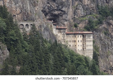 Turkey. Region Macka of Trabzon city - the Sumela Monastery (1600 year old Greek Orthodox monastery of the Panaghia). Rock Church - the inner and outer walls are decorated with frescoes