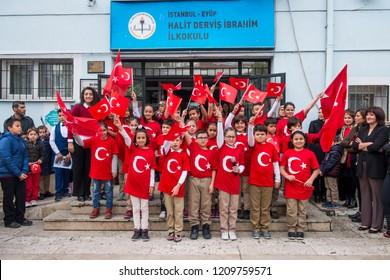 Turkey Republic Day, the Republic of Turkey is one of 1923 declared that the memorial. Halit Dervis İbrahim Elementary School / Eyüp, Istanbul, Turkey, 29 October 2017