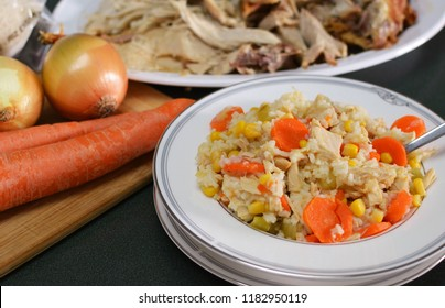 Turkey and rice stew made from holiday leftovers with ingredients.