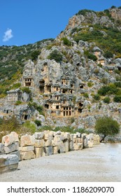 Turkey. The ruins of the ancient city of Mira are the capitals of the Lycian kingdom. Tombs of the Lycians in the rock.