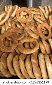 Turkey, Safranbolu. Simit bakery. Turkish sesame bread, often referred to as a 'Turkish bagel', is called Simit or gevrek in Turkish.