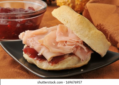 A turkey sandwich on a fresh baked biscuit