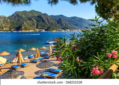 turkey seashore, white sand seacoast, a ship in the water, summer vacation in europe