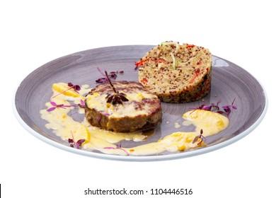 turkey steak with mushrooms and kinoa