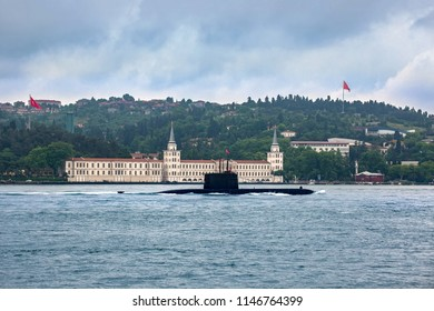 Turkey Submarine, Istanbul. May 2018. Submarines was spot along the Bosphorus channel in front of Kuleli Military High School (Kuleli Sahil)