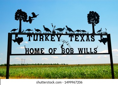 Turkey, Texas / USA - July 20 2004: Welcome sign in Turkey Texas which was the birthplace of Bob Wills