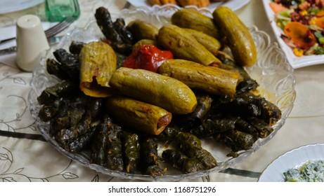 "Turkey traditional food ""dolma"" and ""sarma"" with grape leaves"
