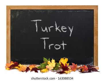 Turkey Trot written in white chalk on a black chalkboard with fall colored leaves isolated on white