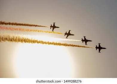 İZMİR, TURKEY: Turkish Air Force aerobatic demonstration team which called Turkish Stars are flying on the sky for 9 September- Izmir's Independence Day. 9 september, 2018
