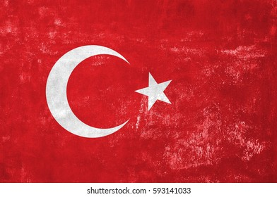 Turkey - Turkish Flag on Old Grunge Texture Background