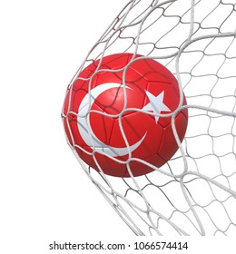 Turkey Turkish flag soccer ball inside the net, in a net. Isolated on white background. 3D Rendering, Illustration.