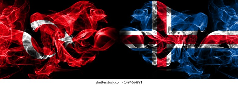 Turkey, Turkish, Iceland, Icelandic competition thick colorful smoky flags. European football qualifications games