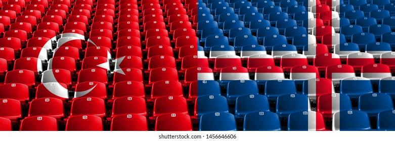 Turkey, Turkish, Iceland, Icelandic, flip stadium seats concept. European football qualifications games.