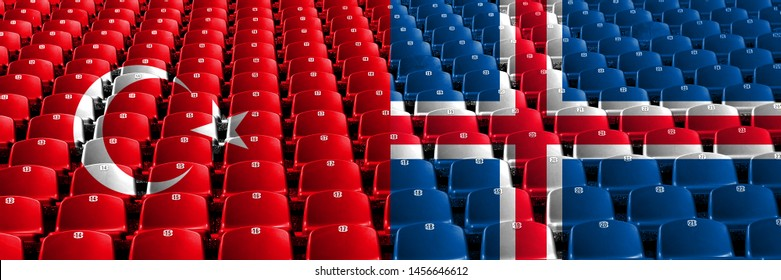 Turkey, Turkish, Iceland, Icelandic stadium seats concept. European football qualifications games.
