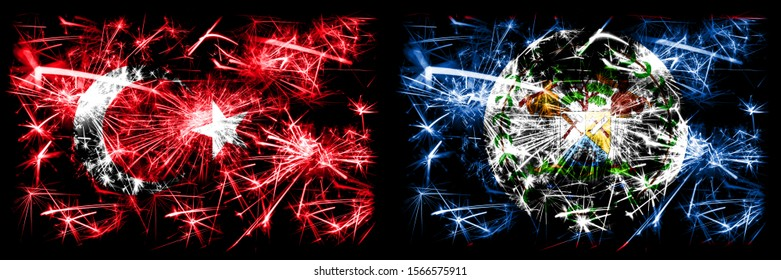 Turkey, Turkish vs Belize, Belizean New Year celebration sparkling fireworks flags concept background. Combination of two abstract states flags.
