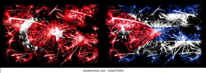 Turkey, Turkish vs Cuba, Cuban New Year celebration sparkling fireworks flags concept background. Combination of two abstract states flags.