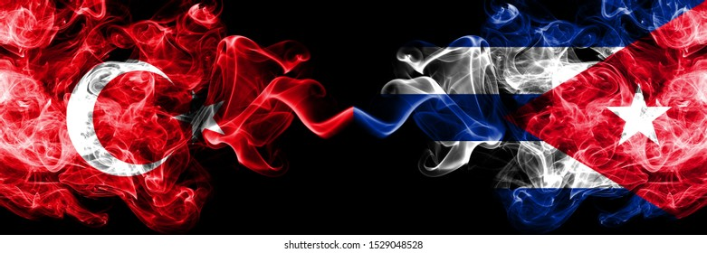Turkey vs Cuba, Cuban smoke flags placed side by side. Thick colored silky smoke flags of Turkish and Cuba, Cuban