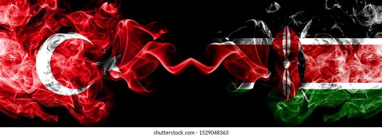 Turkey vs Kenya, Kenyan smoke flags placed side by side. Thick colored silky smoke flags of Turkish and Kenya, Kenyan