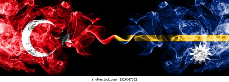 Turkey vs Nauru smoke flags placed side by side. Thick colored silky smoke flags of Turkish and Nauru