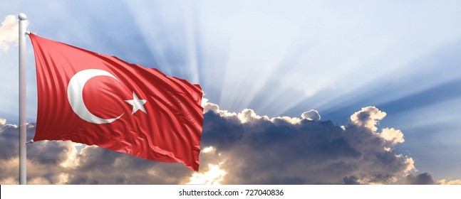 Turkey waving flag on blue sky. 3d illustration